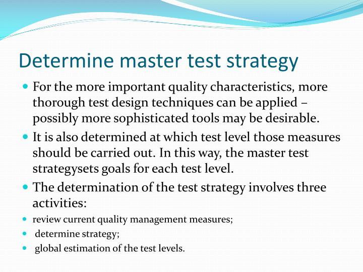 Determine master test strategy
