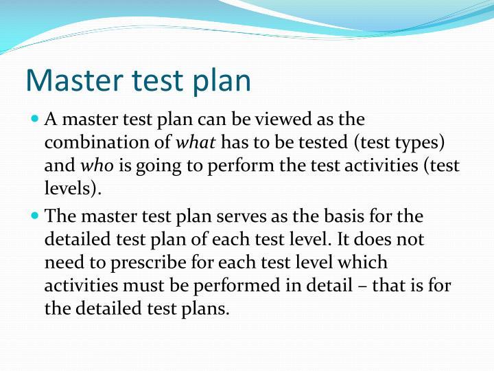Master test plan