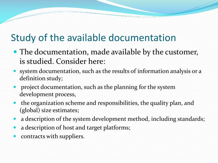 Study of the available documentation