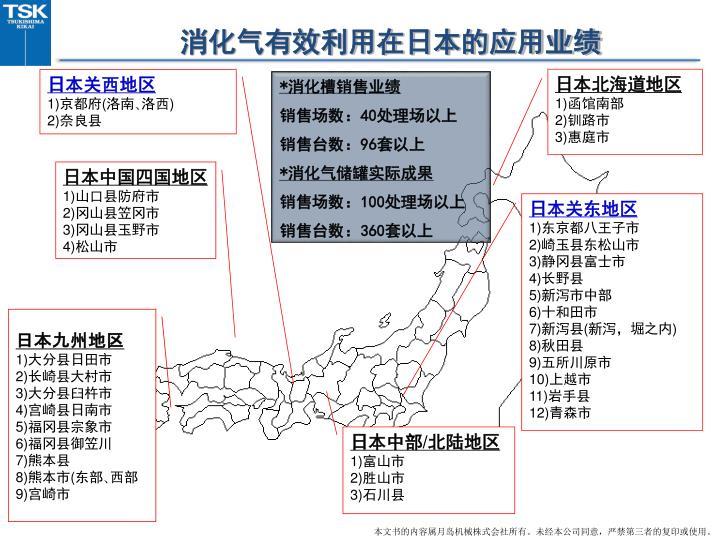 消化气有效利用在日本的应用业绩