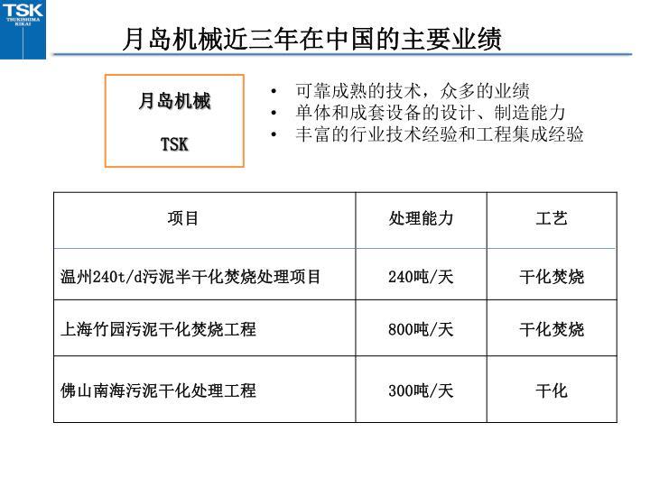 月岛机械近三年在中国的主要业绩