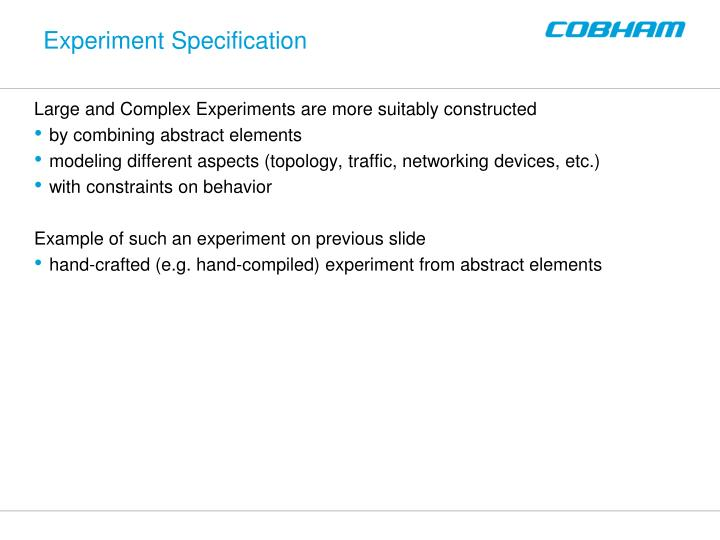 Experiment Specification