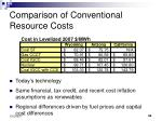 comparison of conventional resource costs