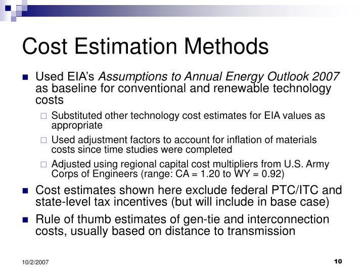 Cost Estimation Methods