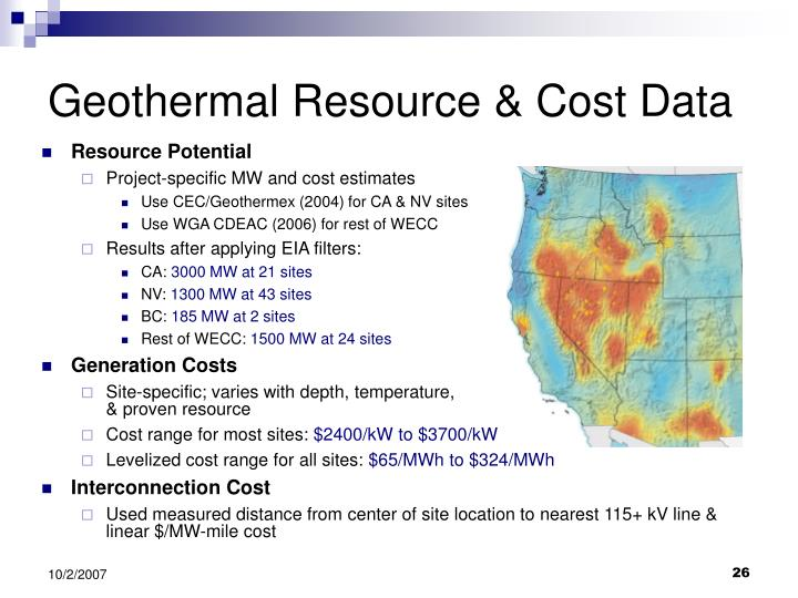 Geothermal Resource & Cost Data