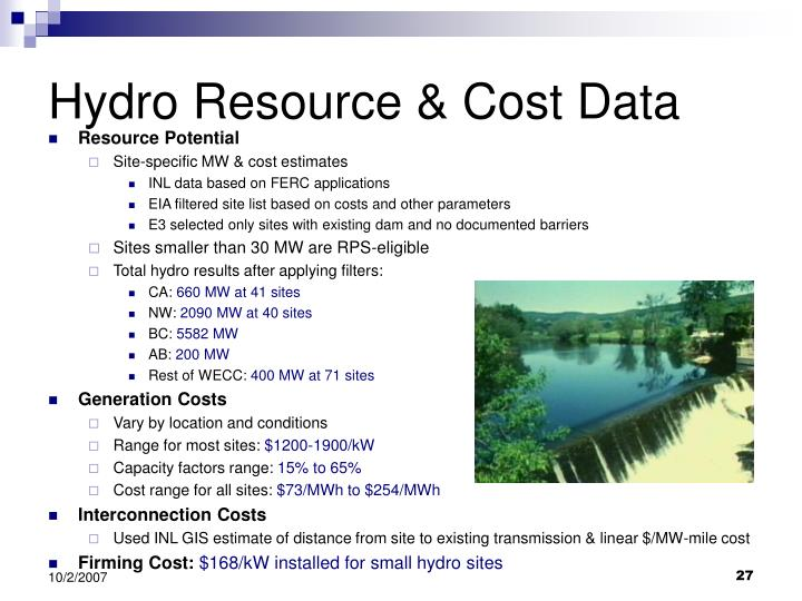 Hydro Resource & Cost Data