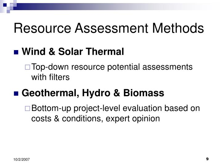 Resource Assessment Methods