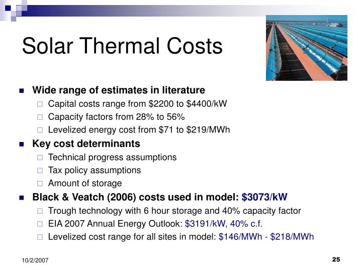 Solar Thermal Costs