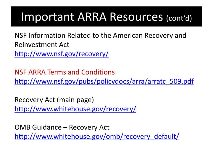 Important ARRA Resources