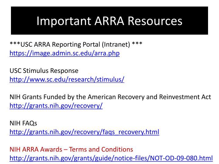 Important ARRA Resources