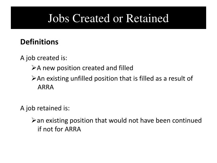 Jobs Created or Retained