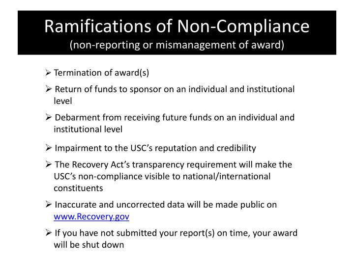 Ramifications of Non-Compliance