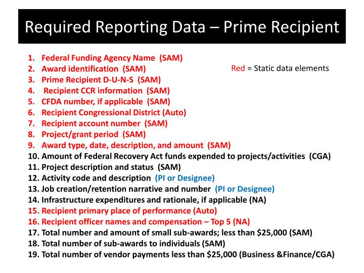 Required Reporting Data – Prime Recipient