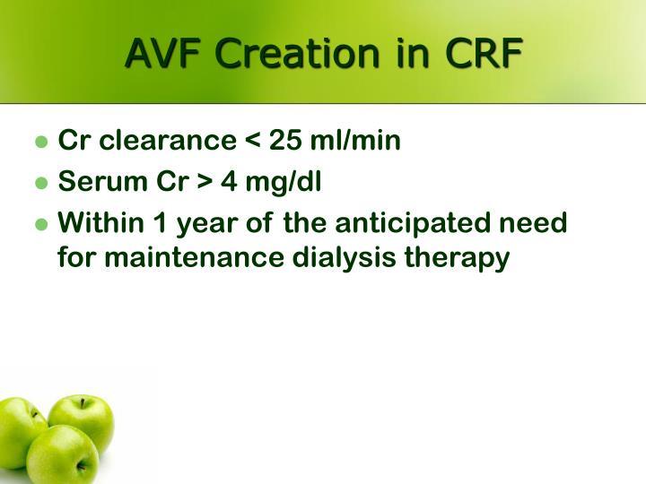 AVF Creation in CRF