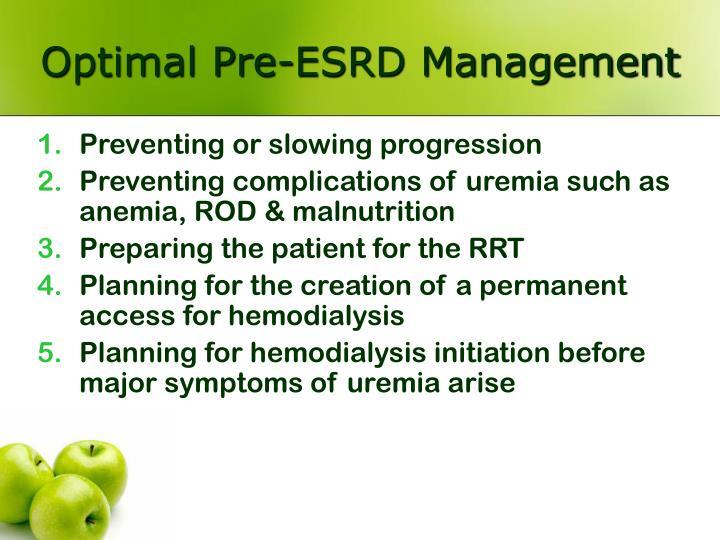 Optimal Pre-ESRD Management