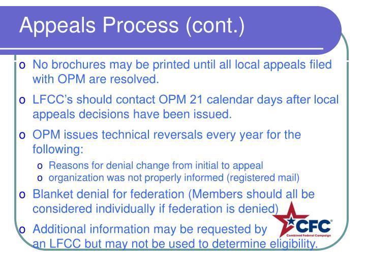 Appeals Process (cont.)