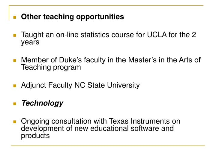Other teaching opportunities