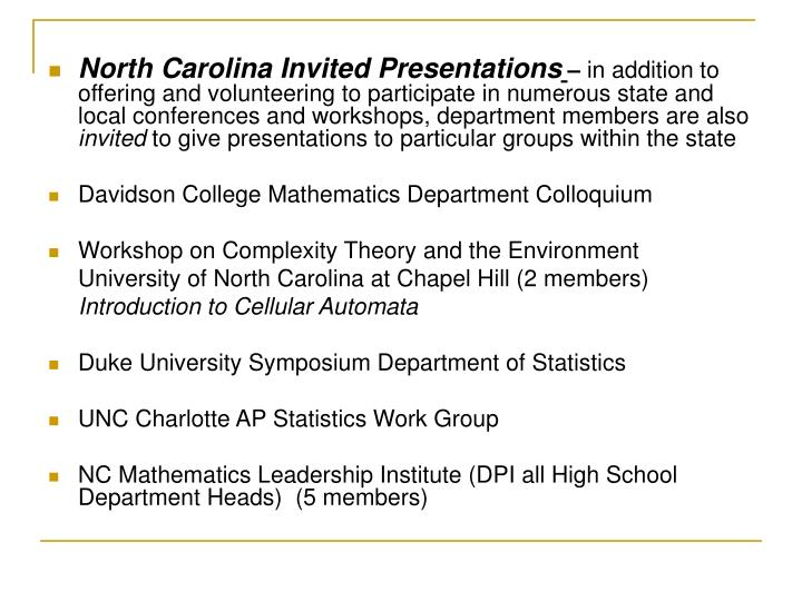 North Carolina Invited Presentations