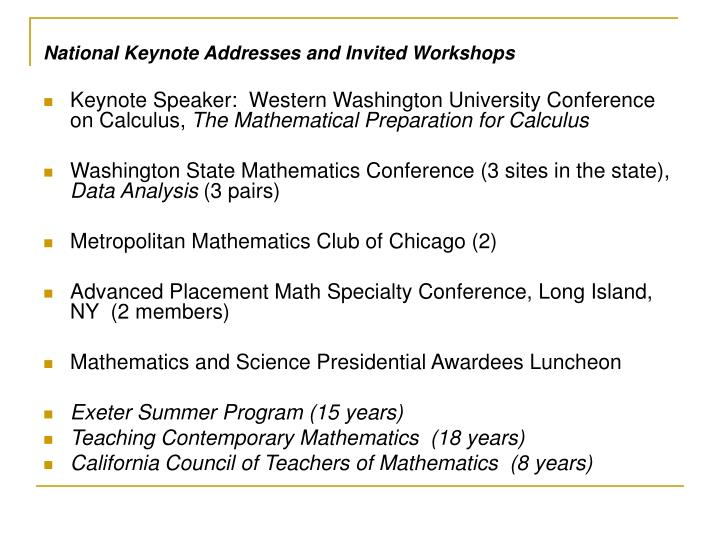 National Keynote Addresses and Invited Workshops