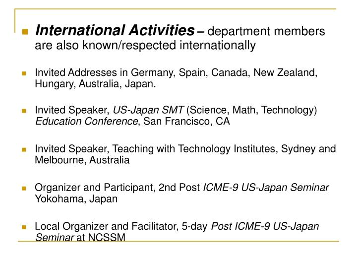 International Activities