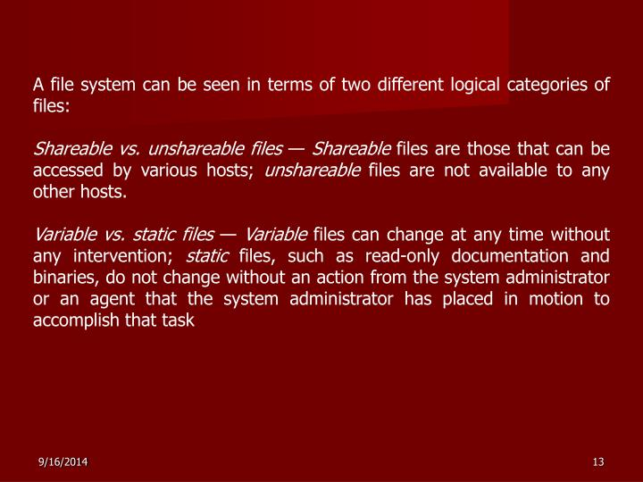A file system can be seen in terms of two different logical categories of files: