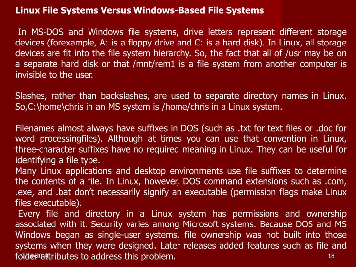Linux File Systems Versus Windows-Based File Systems