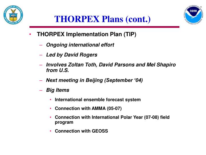 THORPEX Plans (cont.)