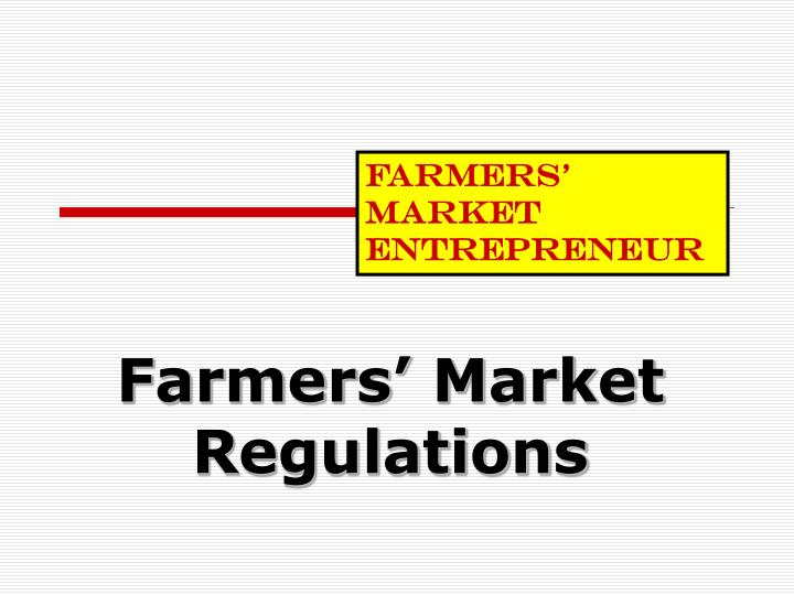 Farmers market regulations