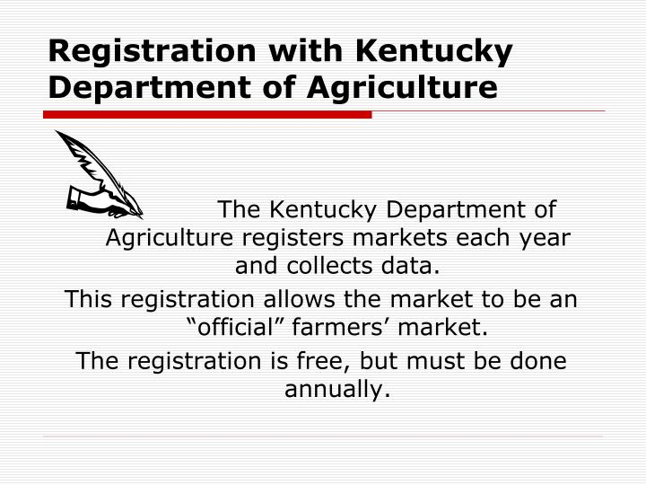 Registration with kentucky department of agriculture