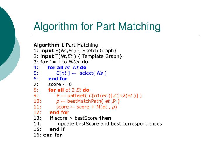 Algorithm for Part Matching