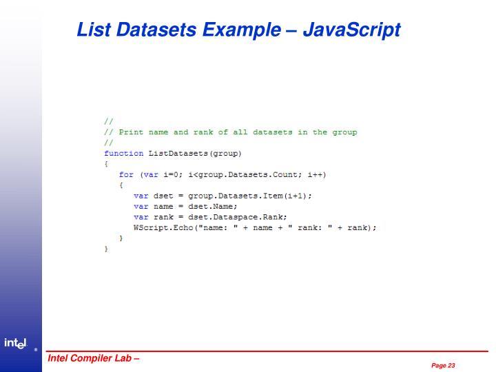 List Datasets Example – JavaScript