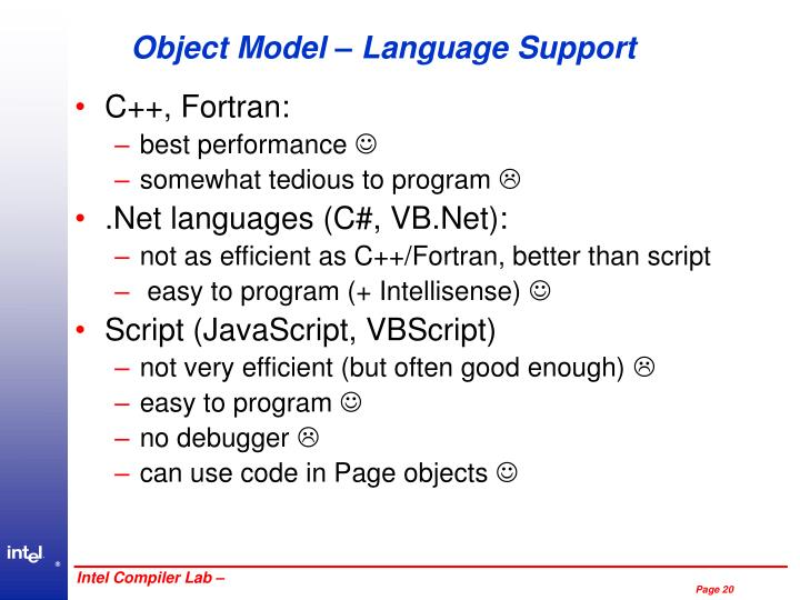 Object Model – Language Support