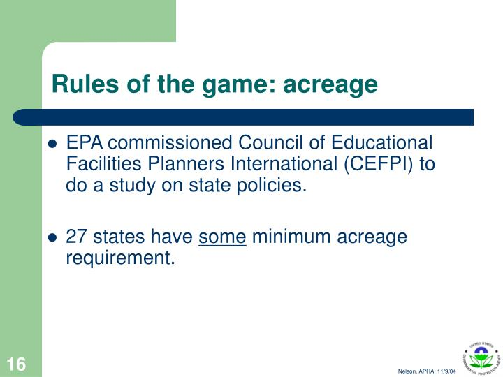 EPA commissioned Council of Educational Facilities Planners International (CEFPI) to do a study on state policies.