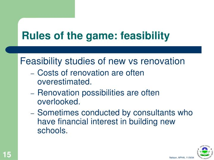 Rules of the game: feasibility