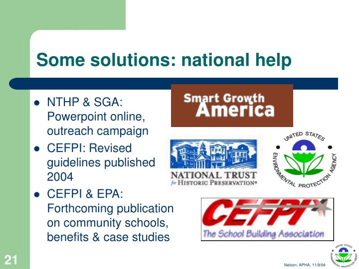Some solutions: national help