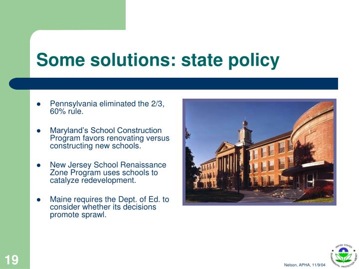 Some solutions: state policy