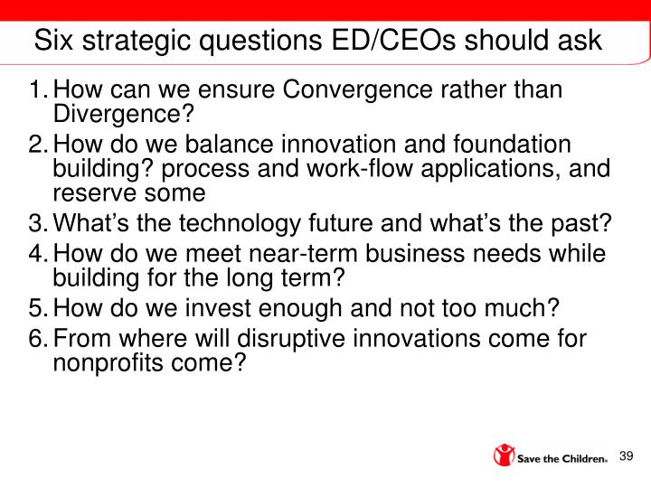 Six strategic questions ED/CEOs should ask