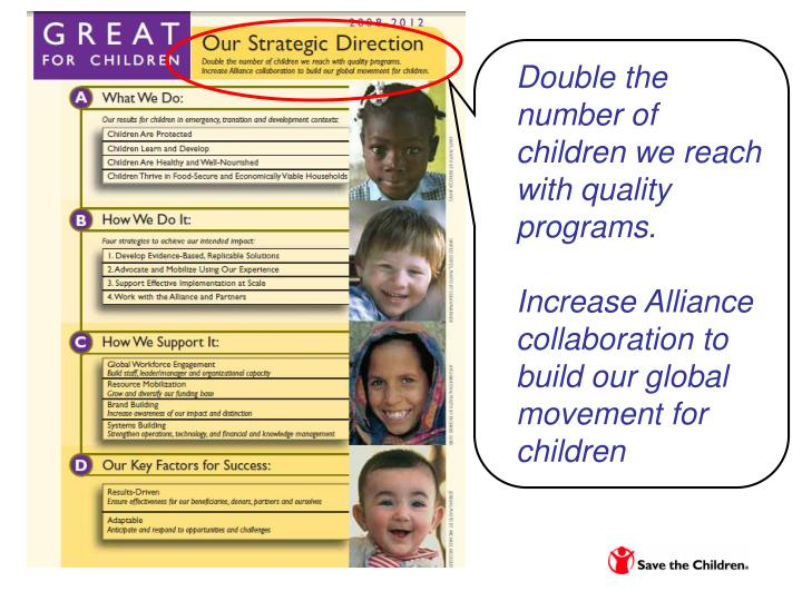 Double the number of children we reach with quality programs.