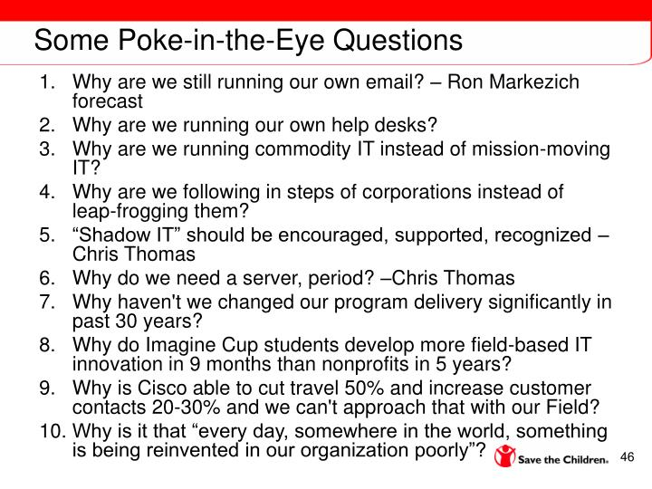 Some Poke-in-the-Eye Questions
