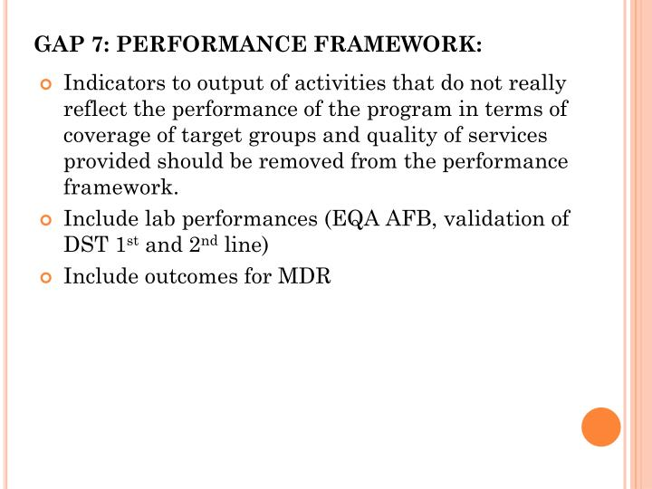 GAP 7: PERFORMANCE FRAMEWORK: