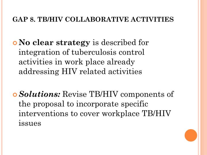 GAP 8. TB/HIV COLLABORATIVE ACTIVITIES