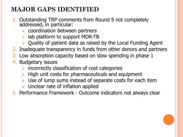 MAJOR GAPS IDENTIFIED