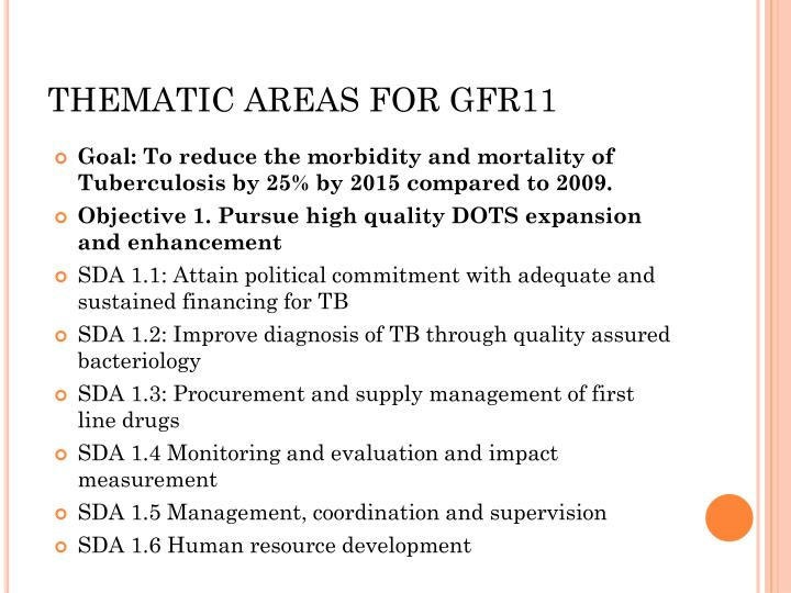 THEMATIC AREAS FOR GFR11