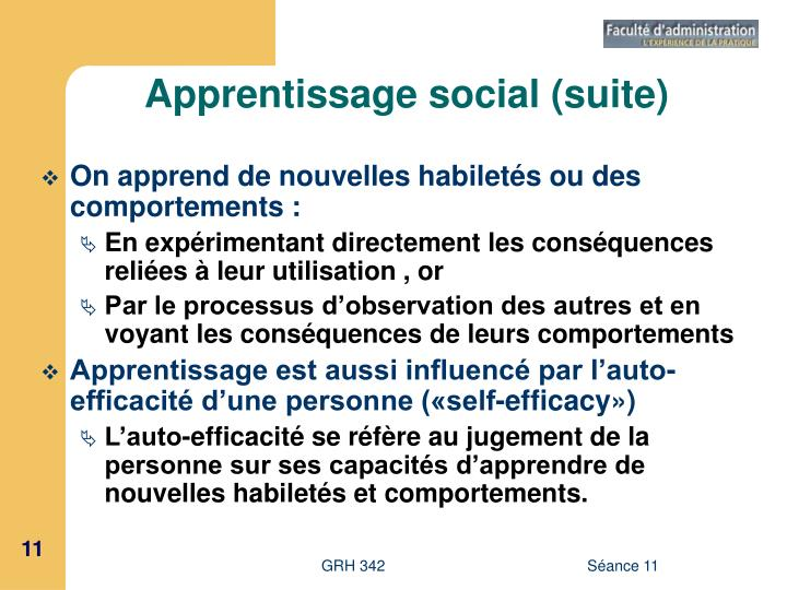 Apprentissage social (suite)