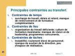 principales contraintes au transfert