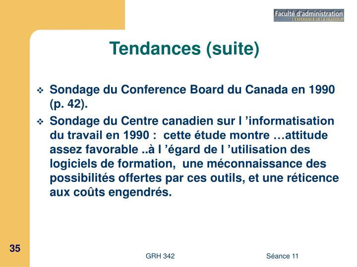 Tendances (suite)