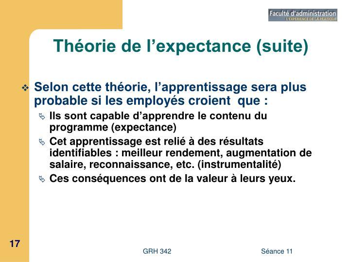 Théorie de l'expectance (suite)