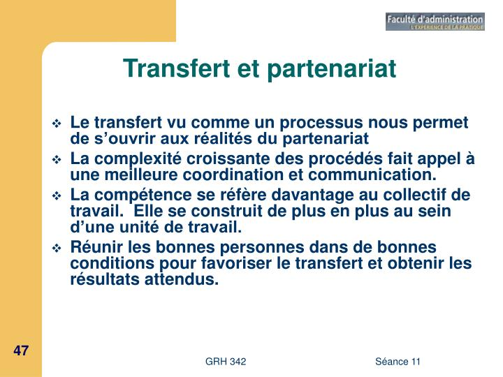 Transfert et partenariat
