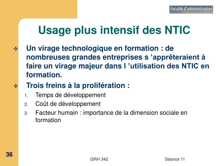 Usage plus intensif des NTIC