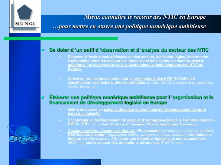 Mieux connaître le secteur des NTIC en Europe